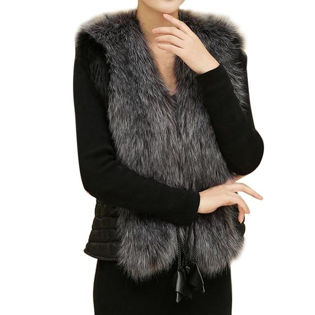 Female Fur Vest New Women Winter Waistcoat Real Leather Fur Coat Vest Jacket Sleeveless Outerwear Faux Fur Elegant Vest XXXL