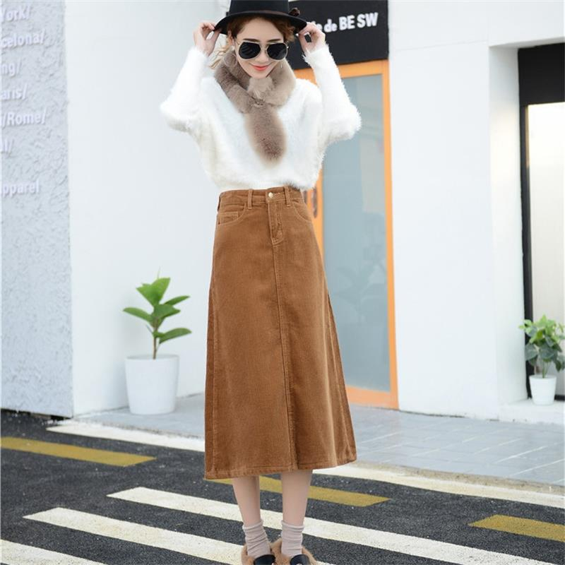 Image 5 - Free Shipping 2019 New Spring Autumn Womens Corduroy Skirt Girls