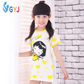 Хлопок ночная рубашка для девочек 110-160 см желтый cute Love длинные девушки ночной рубашке дети ночи платье с коротким рукавом ночной рубашке Чиби Maruko Чан