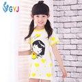 Niñas camisón de algodón 110-160 cm amarillo lindo del Amor largo camisón de las muchachas niños vestido de noche de manga corta camisón Chibi Maruko Chan