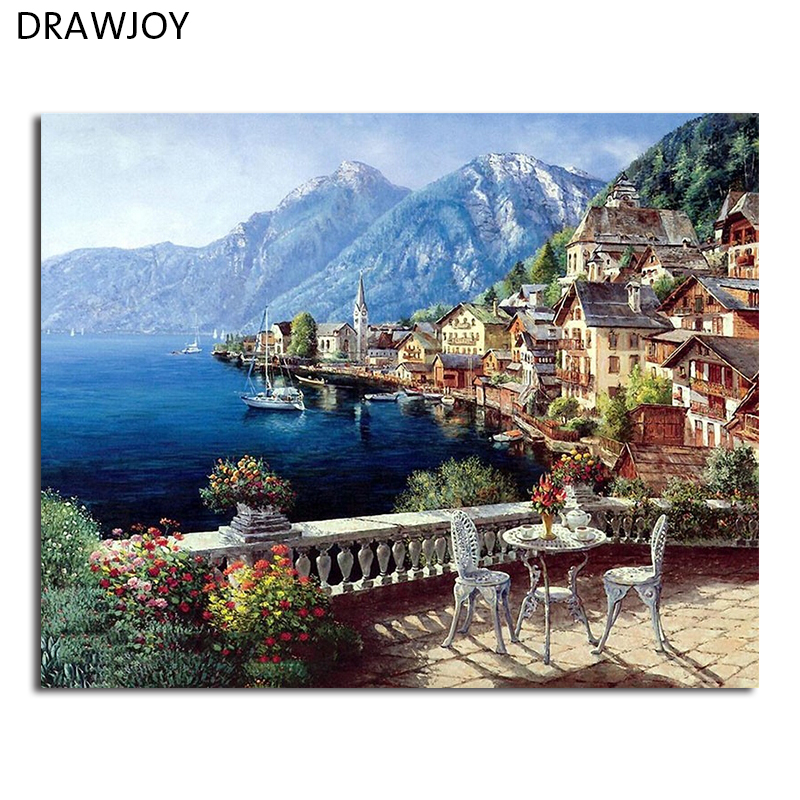 Drawjoy Seascape Framed Diy Painting By Numbers Home Decor For Living Room Diy Digital Canvas Oil Painting Gx4790 40*50cm