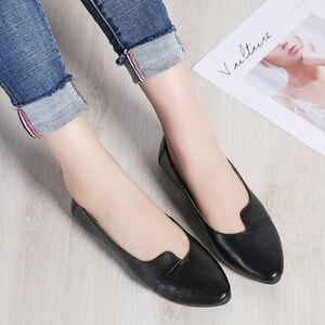 Image 5 - STQ 2020 Autumn Women Ballet Flats Genuine Leather Shoes Slip On Loafers Women Flats Woman Shoes Black Grandmother Shoes 1189