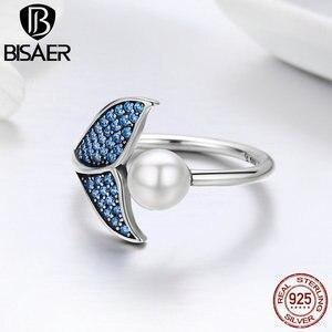 Image 5 - [Kopen 4 Meer Besparen 5%] Bisaer 100% 925 Sterling Zilver Vrouwelijke Mermaid Tail Verstelbare Vinger Ringen Voor Vrouwen bruiloft Engagement