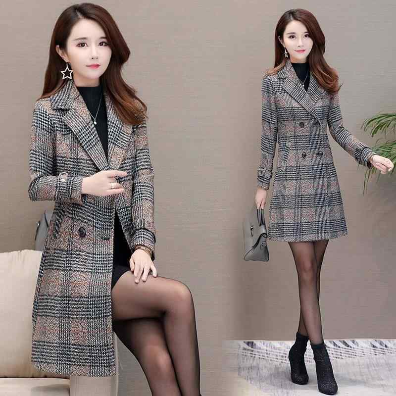 Autumn Winter Wool Women Plaid Pockets Blends Office Work double breasted Long Coats Casual Lady Slim Long Sleeve Jacket