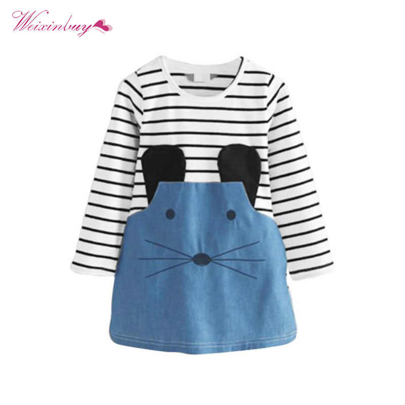 Hot Autumn Girl Dress Striped Patchwork Girl Dresses Long Sleeve Mouse Children Clothing Kids Girls Dress Denim Kids Clothe