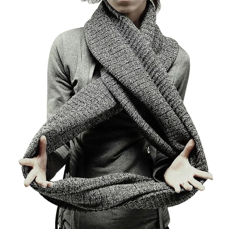 Thick Warm Lic Scarves for Men Black Knitted Men's Winter Scarf Male Gray Ring Carves Winter Knitted Infinity Man Scarf Collar-in Men's Scarves from Apparel Accessories