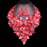 Big Crystal Bridal Jewelry Sets Wedding Party Costume Accessory Indian Necklace Earrings for bride Gorgeous jewellery sets Women