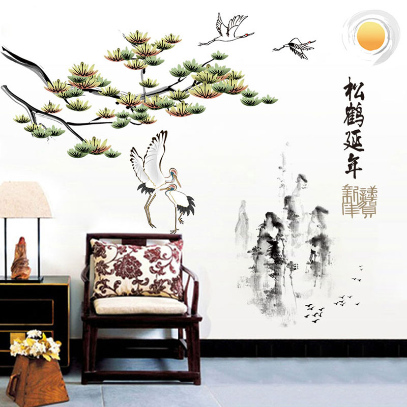 [Fundecor] Chinese painting pine tree crane bird mountain diy wall stickers home decor living room art wall decals retro Mural ...