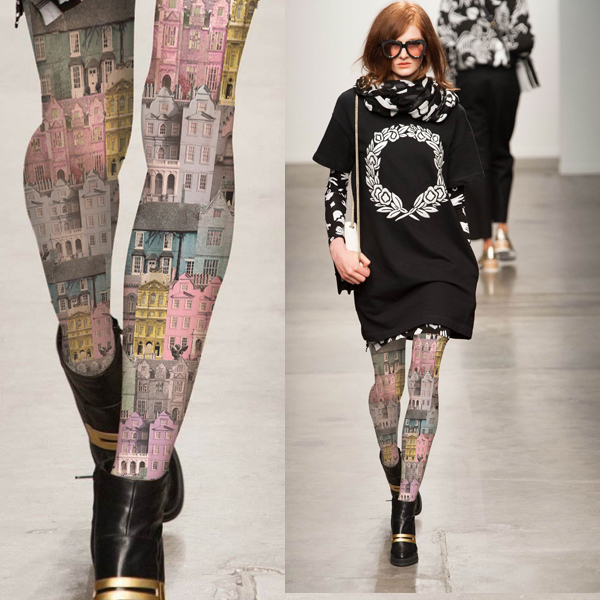 Fashion multicolour vintage print pantyhose autumn and winter personality  stockings female girl women tights
