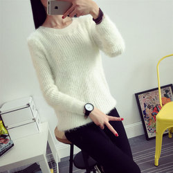 2016 Women Candy Colors Sweaters Fashion Autumn Winter Warm Mohair O-Neck Pullover Long Sleeve Casual Loose Sweater Knitted Tops 4