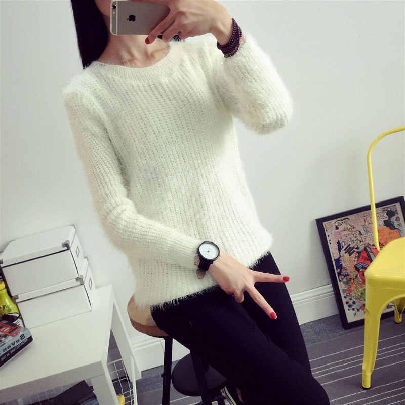 2016 여성 캔디 색상 스웨터 패션 가을 겨울 따뜻한 모헤어 오-넥 풀오버 긴 소매 캐주얼 루즈 한 스웨터 니트 탑스