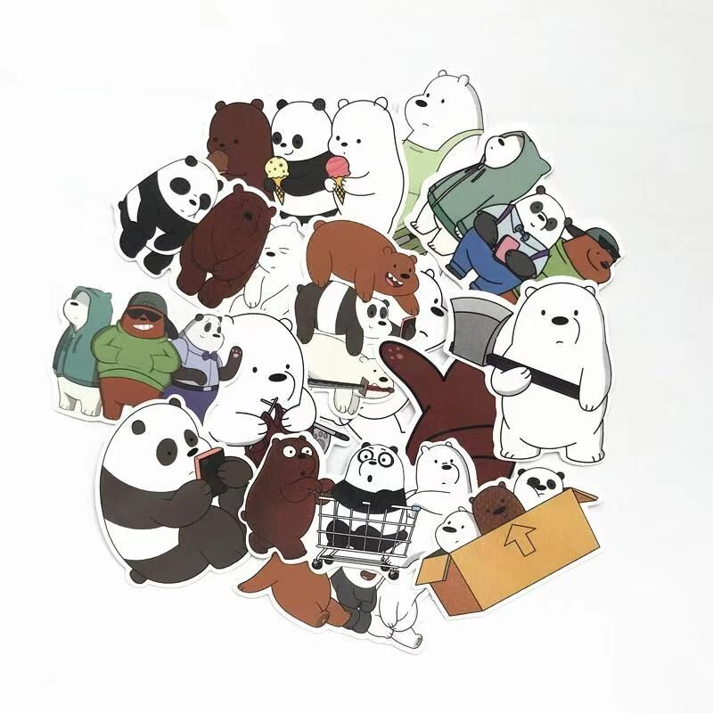 TD ZW 42 Pcs/Lot American Anime We Bare Bears Sticker Decal For Children Christmas Gifts Backpack Notebook Waterproof Stickers