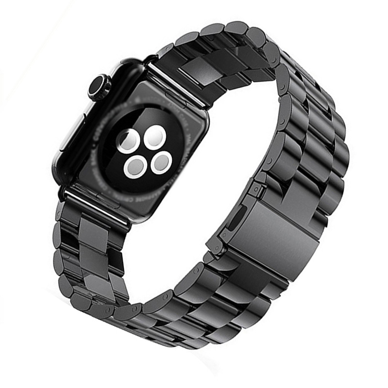 FOHUAS Metal Stainless Steel band for iWatch Strap Black Gold Silver watchbands men for 38mm 42mm