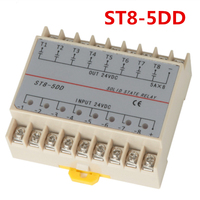 5DD 8 Channel Din Rail SSR Eight Input Output 24VDC Single Phase DC Solid State Relay 5A PLC Module Controller