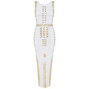 2020 new arrival summer dress ankle-length white and black  rivet bocycon HL bandage dress party dress vestidos