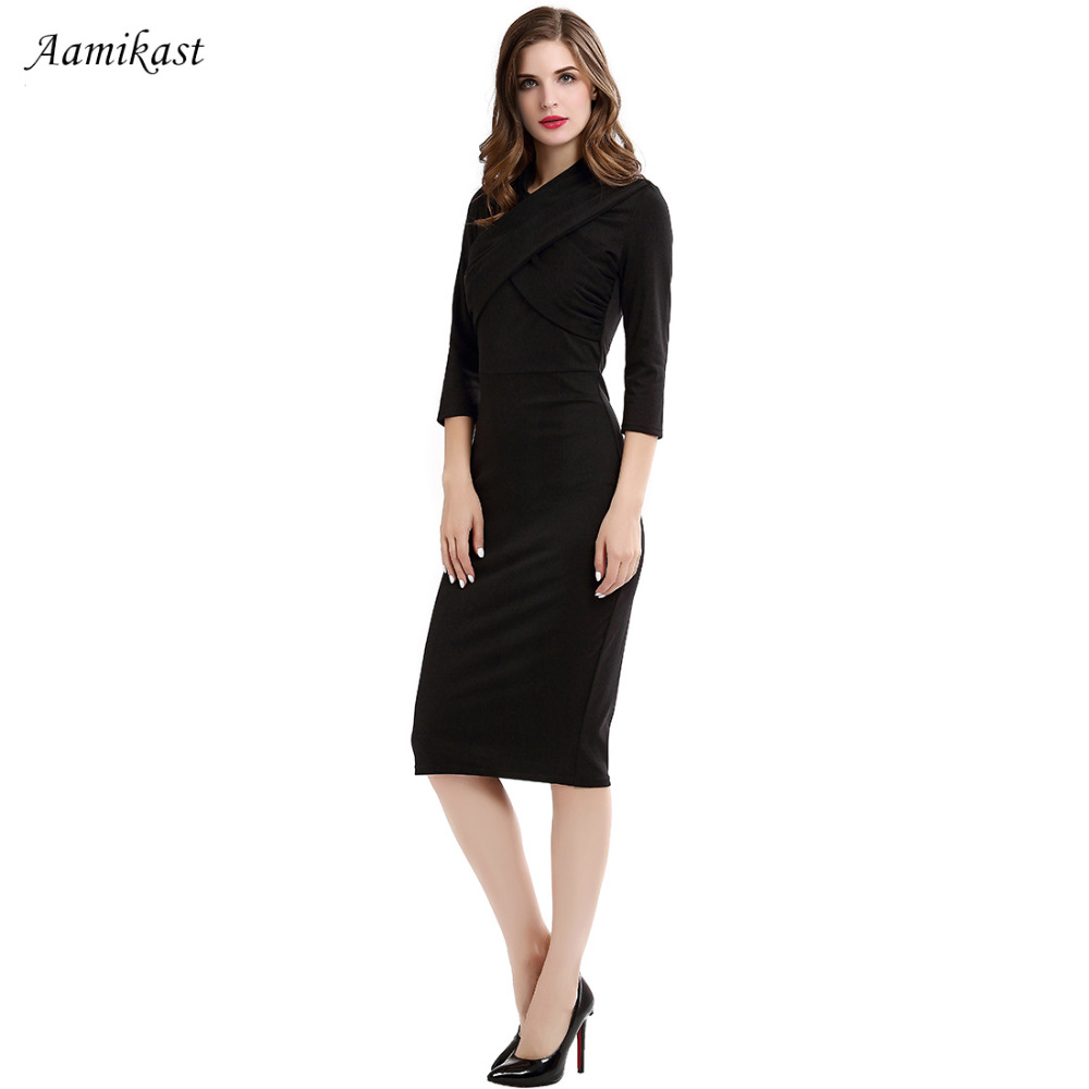 Women Dresses New Fashion V neck 3 4 Sleeve Sexy Vintage Party Business  Pencil Bodycon Black Dresses S M L XL XXL XXXL-in Dresses from Women s  Clothing on ... 3f408b698b6d