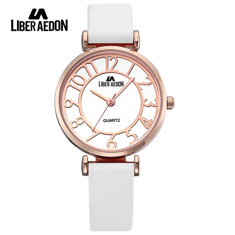 Liber Aedon Luxury Brand Women Watches Gold Fashion Dress Ladies Waterproof Quartz Wristwatch Unique Bracelet Watch