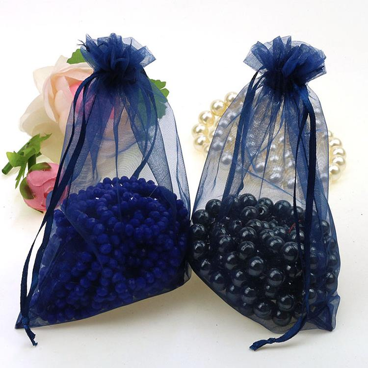 Image 5 - Wholesale 100pcs/lot 15x20cm Deep Blue Wedding Drawable Organza Voile Gift Packaging Bags Can Customized Logo Printing 02packaging gift bagsgift bags packinglogo gift bags -