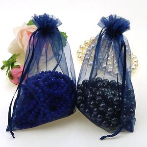 Image 5 - Wholesale 100pcs/lot 15x20cm Deep Blue Wedding Drawable Organza Voile Gift Packaging Bags Can Customized Logo Printing 02