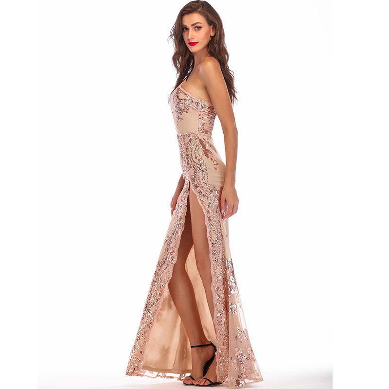 c998a681ae8ea gold sequin glitter vestido party long dress embroidery patchwork elegant  woman clothes sexy backless one shoulder