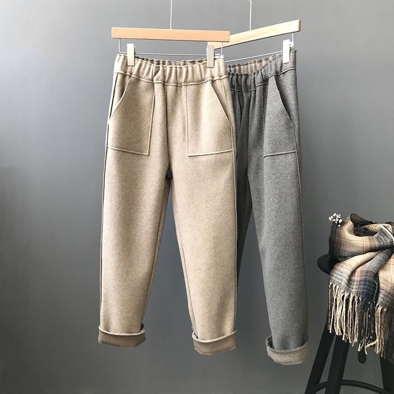 Mooirue invierno verano Pantalones mujer coreana Oficina lana Haren Thin Inglaterra pantalones cintura alta Pantalon inferior