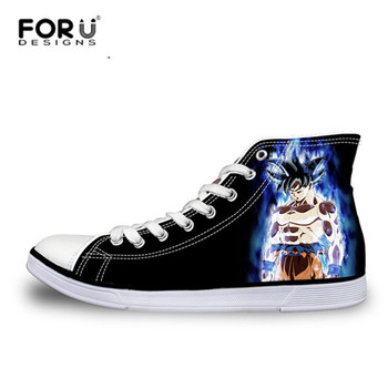 FORUDESIGNS Teenagers Boys High-top Vulcanized Shoes HOT Anime Dragon Ball Z Super Canvas Shoes for Men Fashion Lace-up Shoes