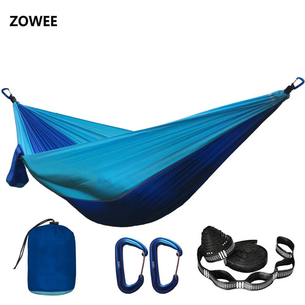 Solid Color Parachute Hammock With Hammock Straps And Aluminum CarabinerCamping Survival Travel Double Person Outdoor Furniture