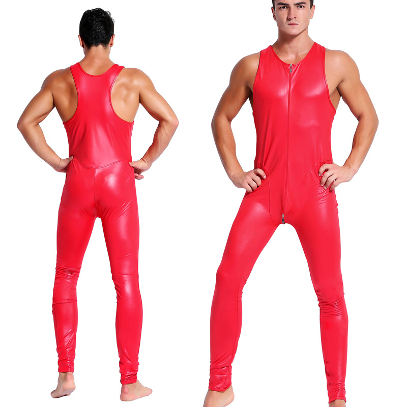 CFYH Man leather latex catsuit Teddy bodysuit black red shiny Erotic Lingerie Bodysuits Zentai Body Wear One Piece jumpsuit