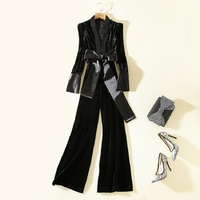 Velvet Jumpsuit 2018 Autumn Winter Velour Pant Overalls Women Sexy Deep V Neck Bow Belt Patchwork Long Sleeve Elegant Jumpsuits