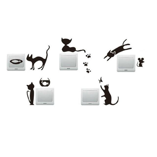 5pcs/Set Creative Removable Cat Switch Wall Sticker Vinyl Decal DIY Home Decor