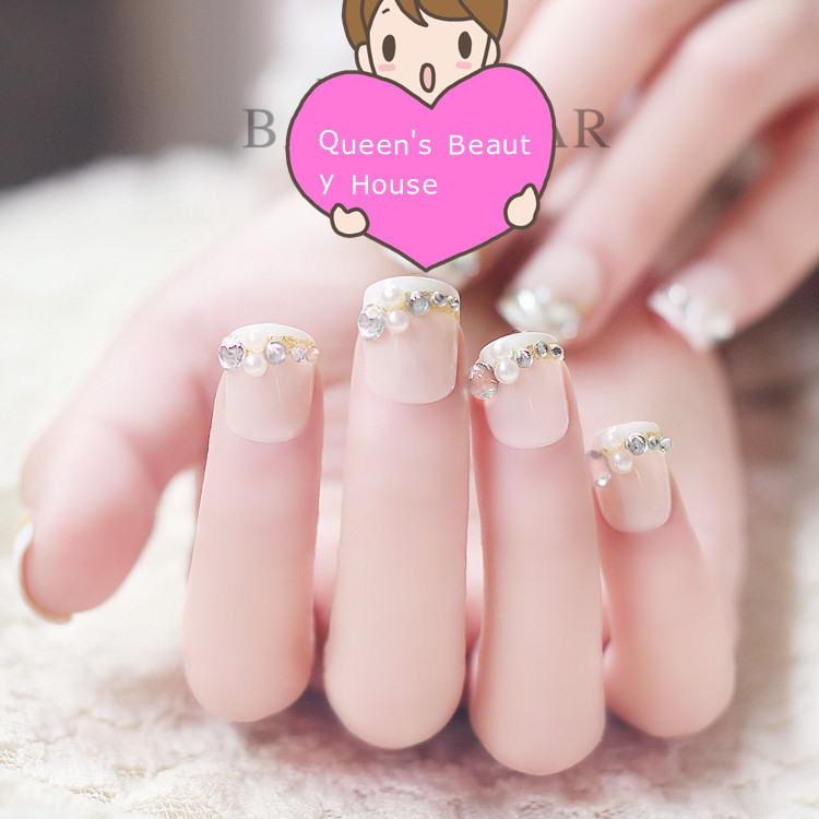 3d Fake Nails Acrylic Nail Art Decoration Faux Ongles Rhinestone Pearl Bling French Style Full Tips Diy Makeup Manicure In False From Beauty