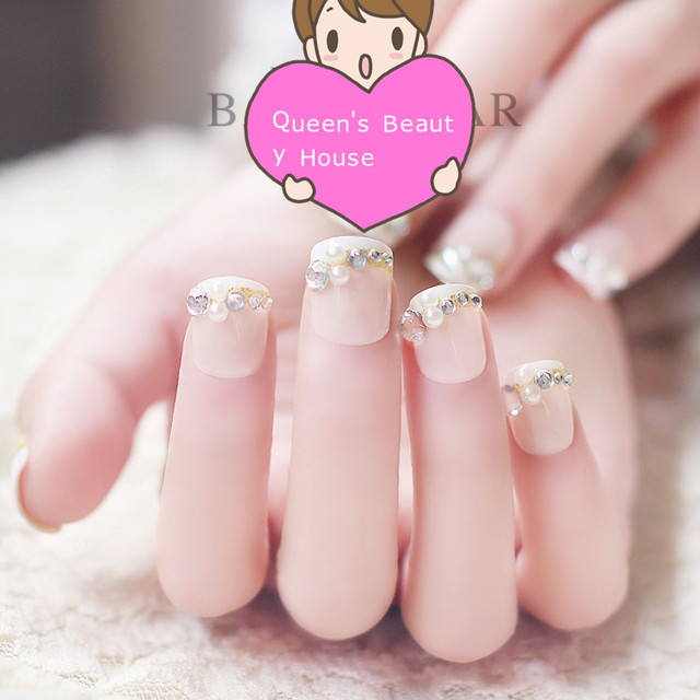 3D Fake Nails Acrylic Nail Art Decoration Faux Ongles Rhinestone Pearl Bling French Style Full