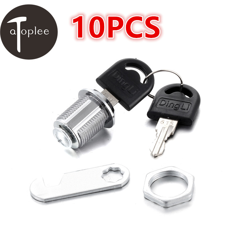 NEW 10PCS 20mm Cam Lock For Door Cabinet Mai lbox Drawer Lock With 20PCS Keys DIY Cabinet Tools 46*15*1.9mm new 225mm cabinet knobws