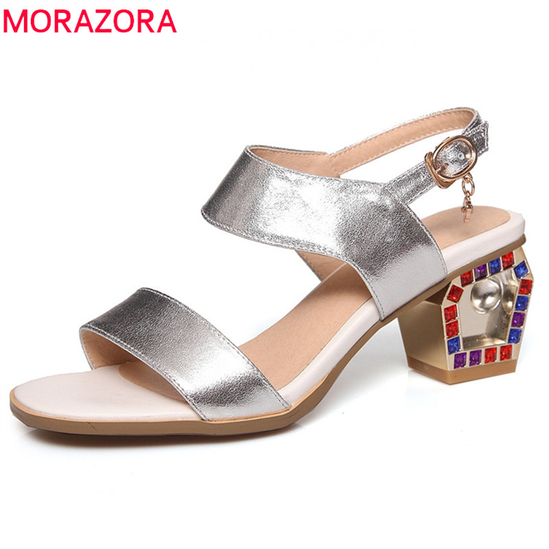 MORAZORA 2018 new arrival women sandals genuine leather ladies shoes simple buckle summer shoes fashion party high heels shoes
