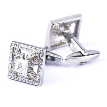 Cufflinks for Men Crystal Shiny Mens Cuff Links Silver Square luxurious chain style decorative cuff links for men golden black 2 pcs
