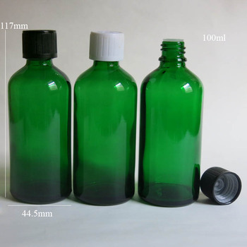 100Pcs 100ml cylinder glass essential oil bottle , 100 ml glass dropper Essential oil bottle / aromatherapy green glass bottles