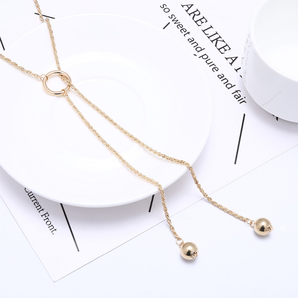 New personality freedom joker geometric beads necklace pendant lady tassel long necklace ornaments