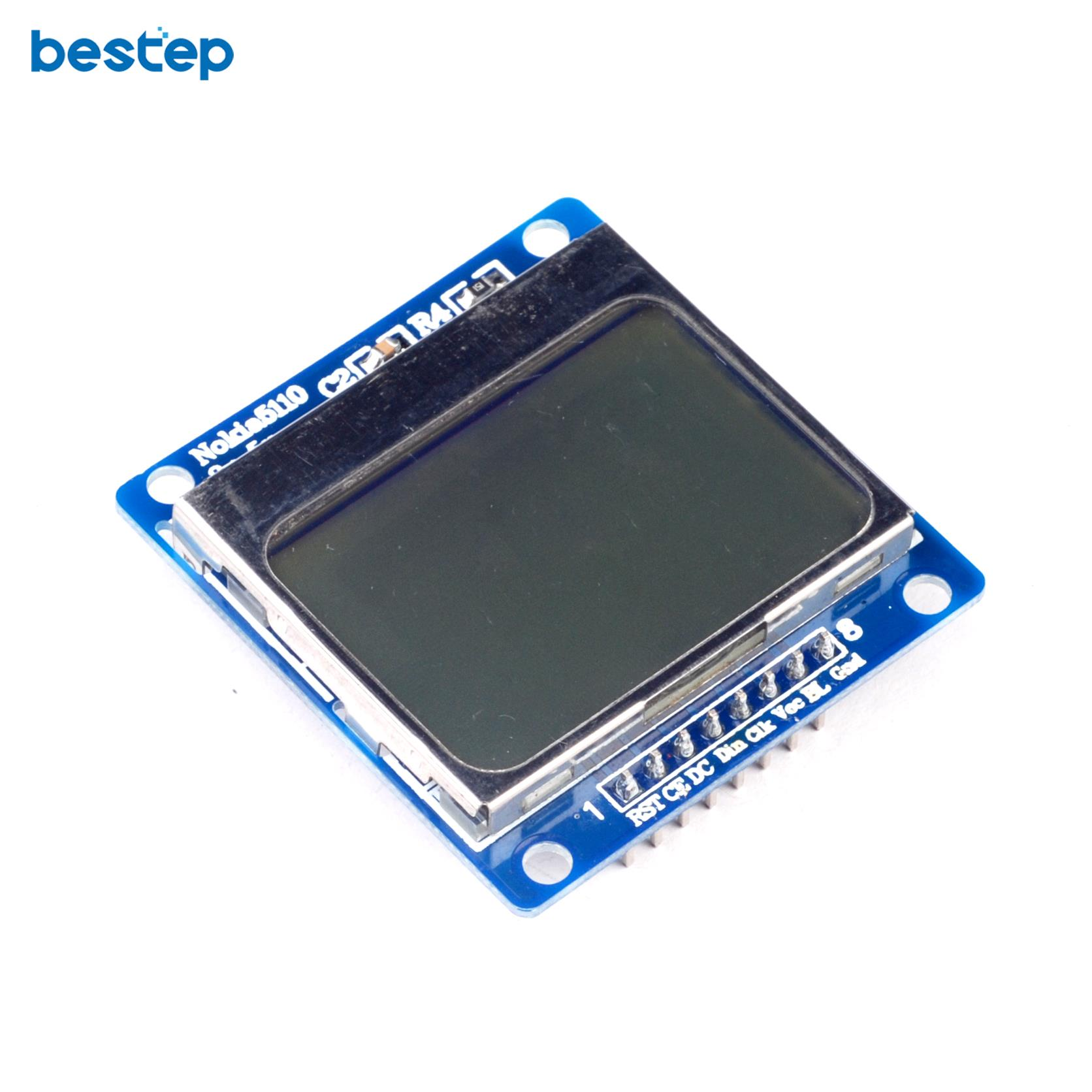 Nokia 5110 lcd module monochrome display screen 84 x 48 for arduino - 1pcs Blue 84x48 For Nokia 5110 Lcd Module With Blue Backlight With Adapter Pcb For Arduino