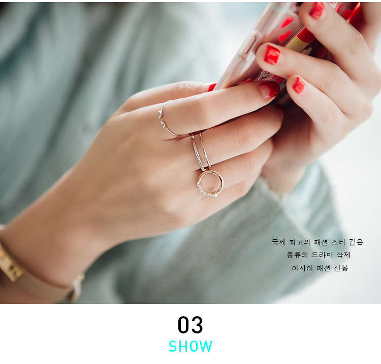 Korean Fashion Silver Color Crystal Adjustable Size Rings For Women Ladies Luxury Jewelry Trendy Antique Ring Anillos 3