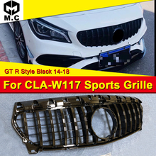 W117 GTR Style Front Grille ABS Gloss Black Fits For MercedesMB CLA200 CLA180 CLA250 Without emblem 2014-2018