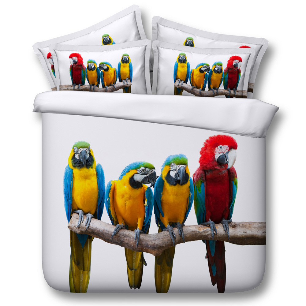 Colorful Parrot Digital Print Bedding Set  Quilt Cover  Design Bed Set Bohemian A Mini Van Bedclothes 3pcs JF141