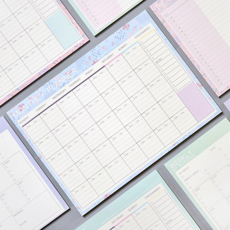 Hermosa almohadilla de papel Floral mensual 20 hojas 21*28,5 cm DIY planificador mensual Agenda regalo escuela Oficina suministros envío Gratis