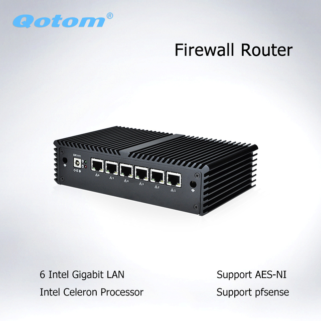 Qotom Mini PC Core i3 i5 i7 без вентилятора, микро компьютер 6 гигабитная Сетевая интерфейсная карта LAN Pfsense AES-NI сервер межсетевого экрана Ubuntu PC Q500G6 3