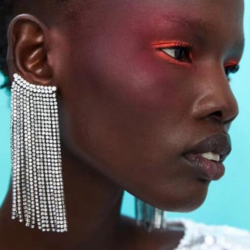 Bestessy Za Boho Fringed Glass Drop Earrings For Women Korean Wedding Shiny Dangle Statement Earrings Jewelry Valentine Gifts in Drop Earrings from Jewelry Accessories