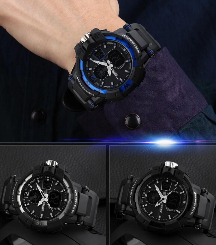 SKMEI 1040 Men LED Digital Quartz Military Watch Blue