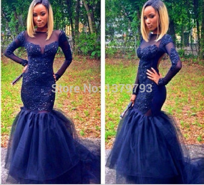 Plus Size Long Sleeve Lace Prom Dresses Open Back Navy Blue