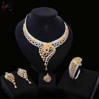Yulaili изысканный высокое роскошный Американский циркон, Ювелирный Комплект Мода Teardrop Дизайн красивый золотой Цвет ювелирные наборы