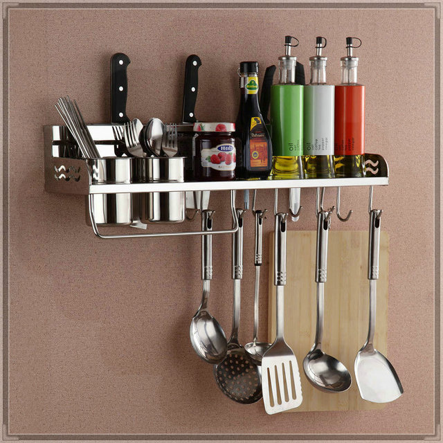 Ordinaire 50cm Two Cups Stainless Steel Kitchen Tool Holder 304 Dual Cup Kitchen  Shelf Rack Shelving Storage