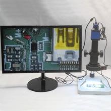 Cheap price Full HD 2.0MP VGA Industrial Video Microscope Camera 180X 300X C-mount Lens Adjustable LED lights Workbench Phone Repair