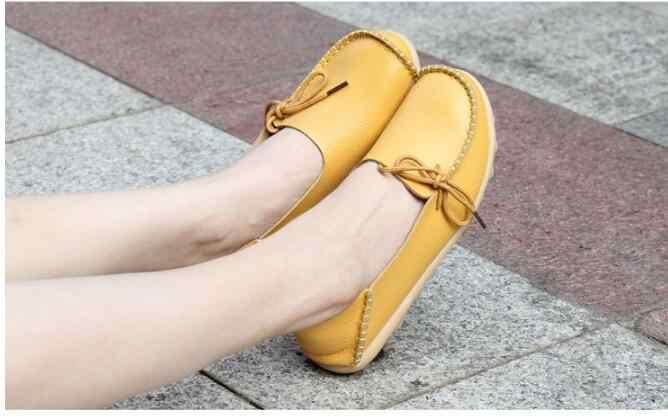 Moda Yeni Deri Kadın Flats Moccasins Loafer'lar ayakkabı sürüş ayakkabısı kadın rahat ayakkabılar Eğlence Özlü düz ayakkabı